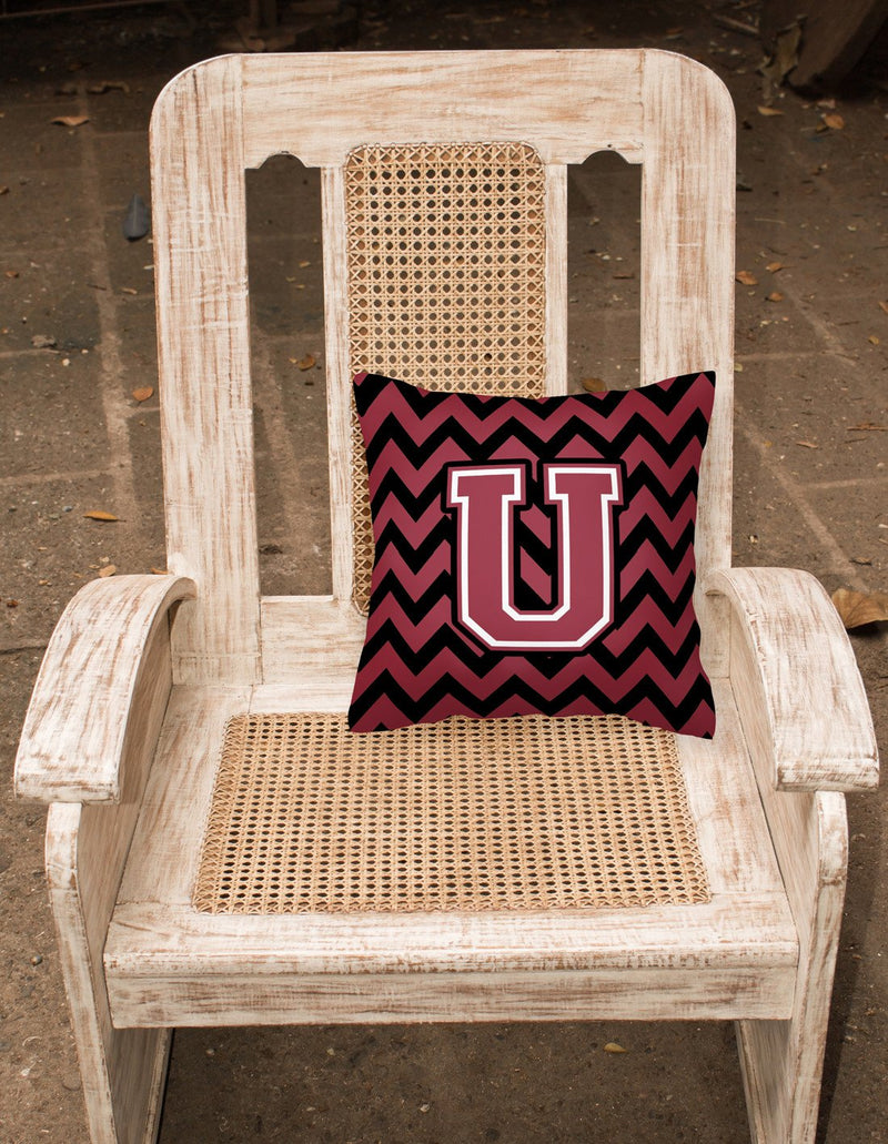 Buy this Letter U Chevron Garnet and Black  Fabric Decorative Pillow CJ1052-UPW1414