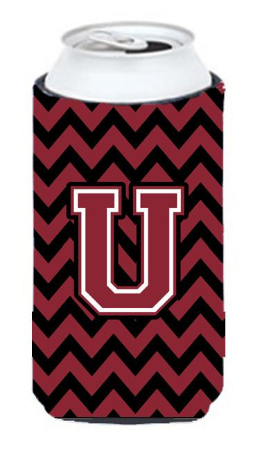 Buy this Letter U Chevron Garnet and Black  Tall Boy Beverage Insulator Hugger CJ1052-UTBC