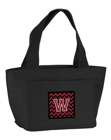 Buy this Letter W Chevron Garnet and Black  Lunch Bag CJ1052-WBK-8808