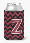 Letter Z Chevron Garnet and Black  Can or Bottle Hugger CJ1052-ZCC by Caroline's Treasures