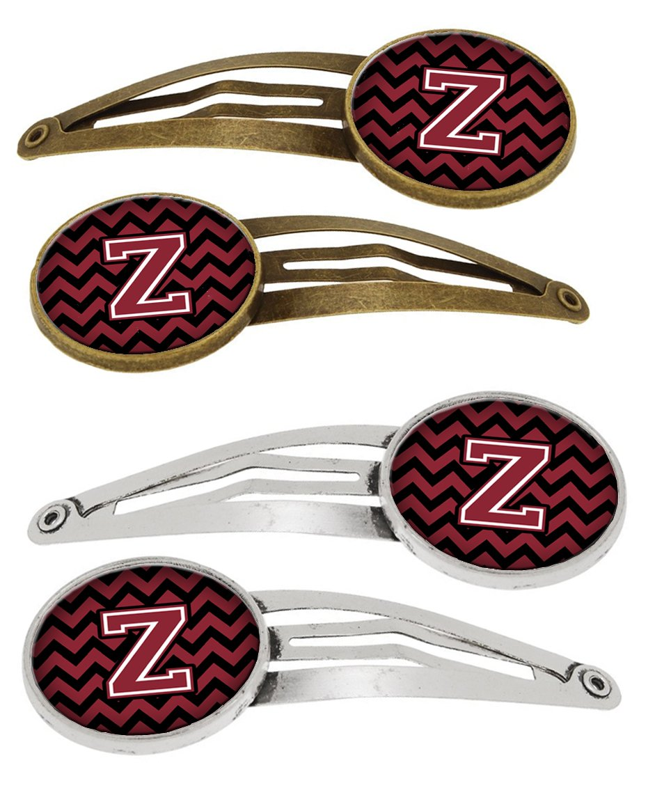 Letter Z Chevron Garnet and Black Set of 4 Barrettes Hair Clips CJ1052-ZHCS4 by Caroline's Treasures