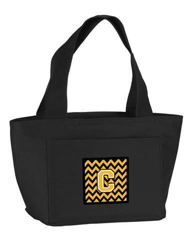Buy this Letter C Chevron Black and Gold Lunch Bag CJ1053-CBK-8808