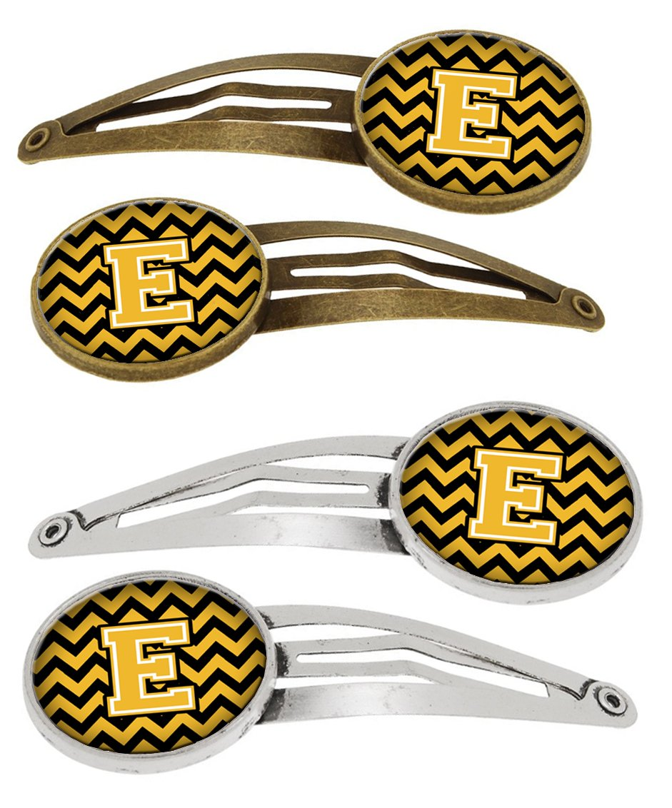 Buy this Letter E Chevron Black and Gold Set of 4 Barrettes Hair Clips CJ1053-EHCS4