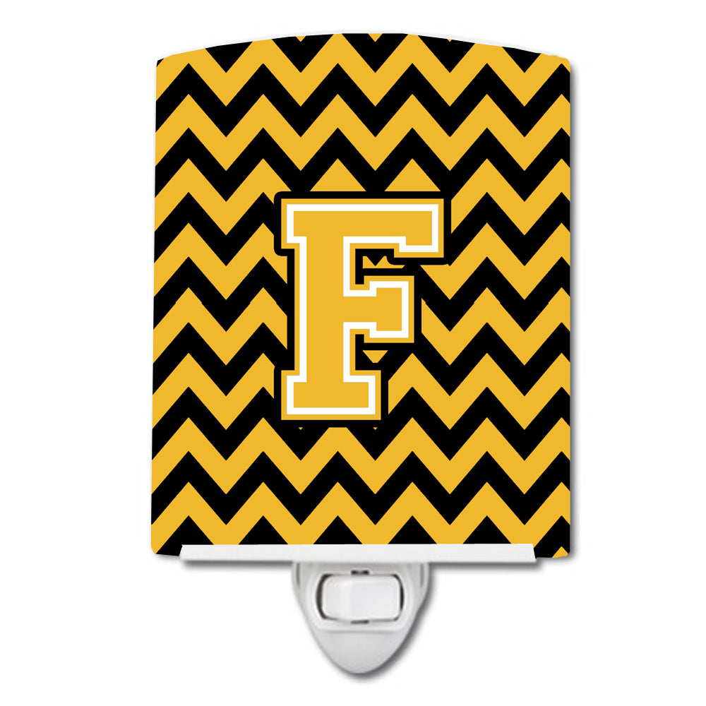 Letter F Chevron Black and Gold Ceramic Night Light CJ1053-FCNL by Caroline's Treasures
