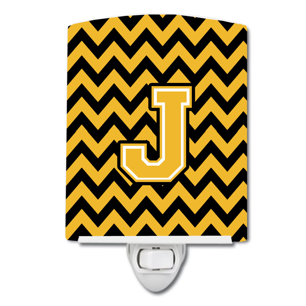 Letter J Chevron Black and Gold Ceramic Night Light CJ1053-JCNL by Caroline's Treasures