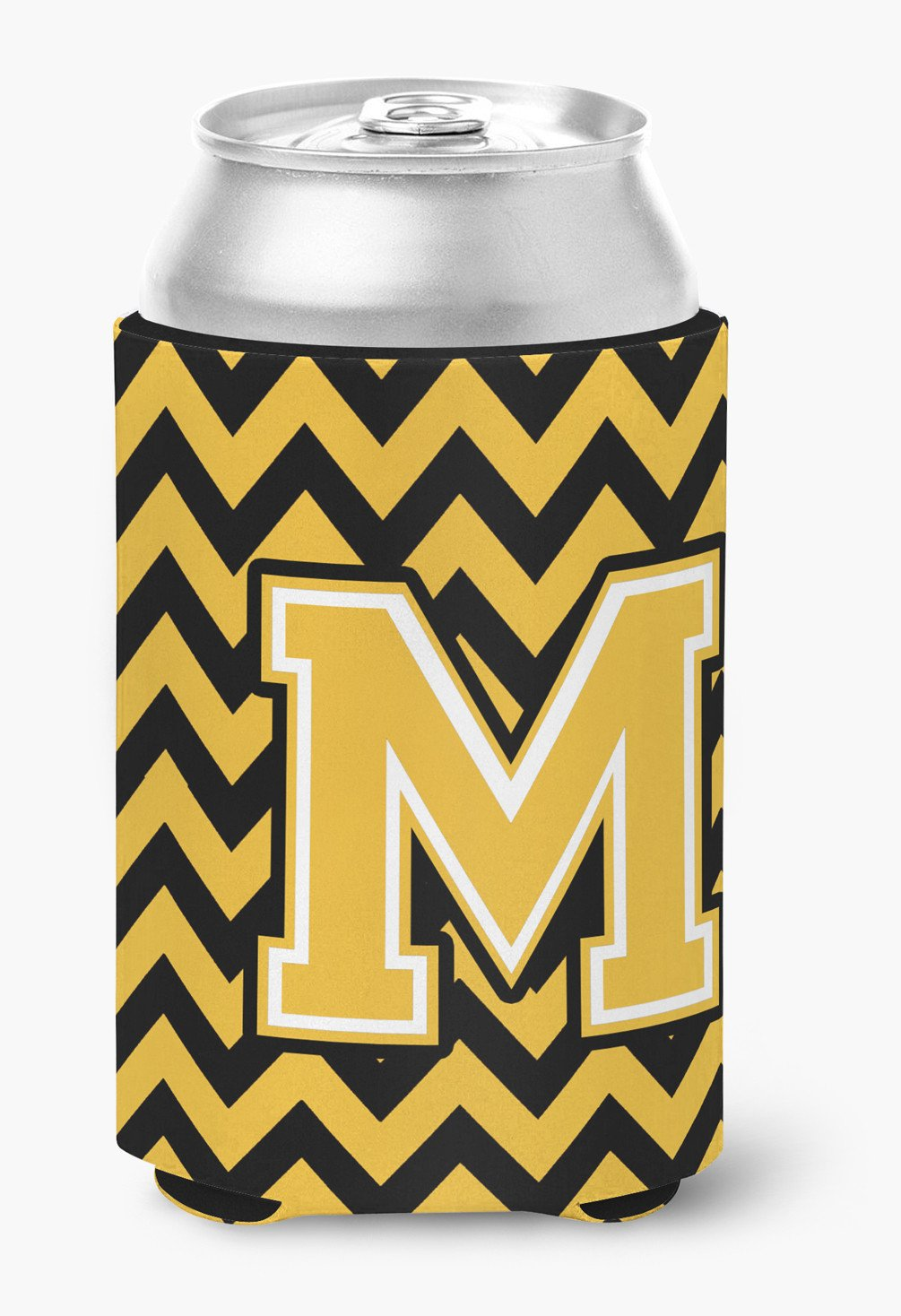 Letter M Chevron Black and Gold Can or Bottle Hugger CJ1053-MCC by Caroline's Treasures
