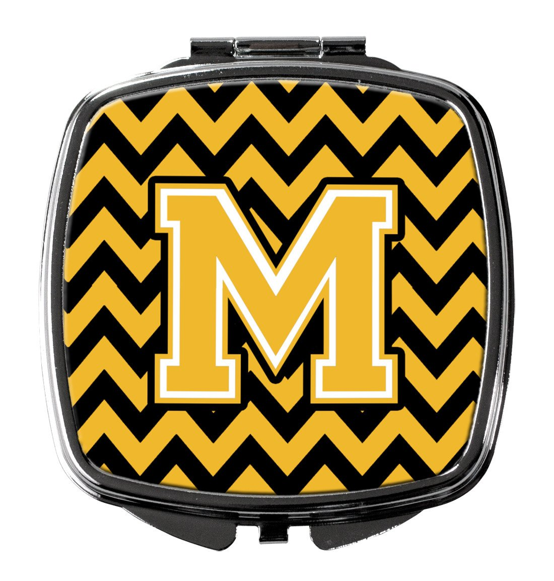 Letter M Chevron Black and Gold Compact Mirror CJ1053-MSCM by Caroline's Treasures