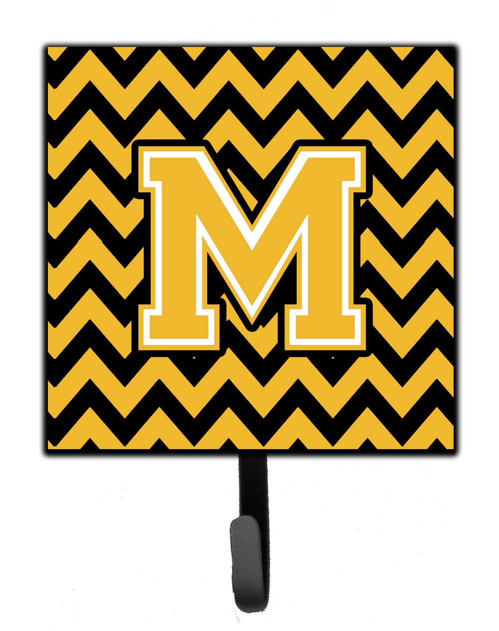 Letter M Chevron Black and Gold Leash or Key Holder CJ1053-MSH4 by Caroline's Treasures