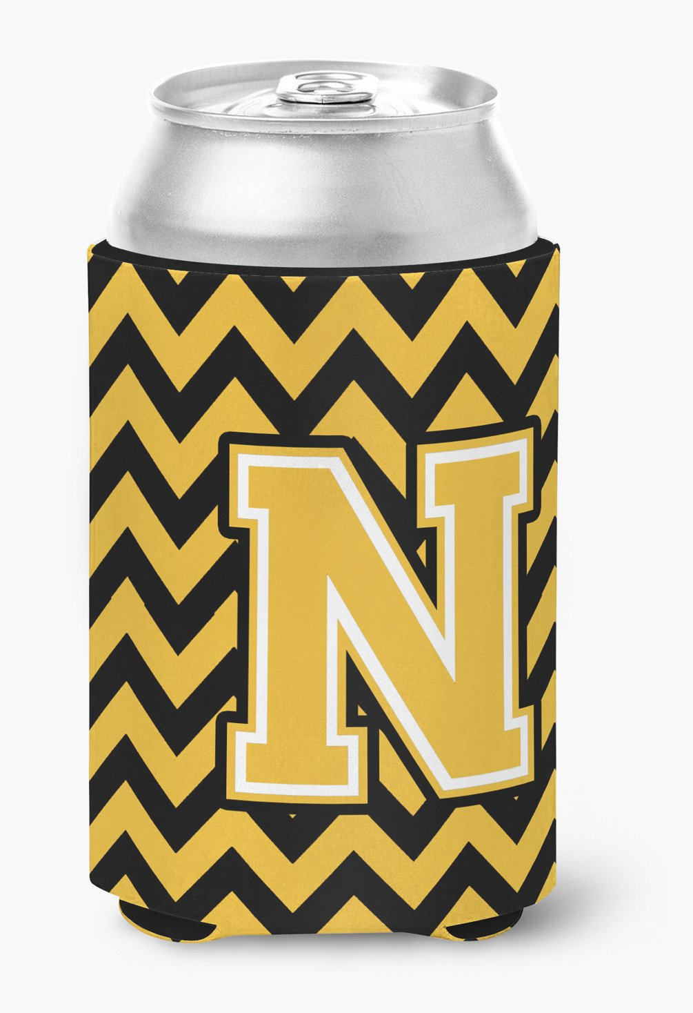 Letter N Chevron Black and Gold Can or Bottle Hugger CJ1053-NCC by Caroline's Treasures