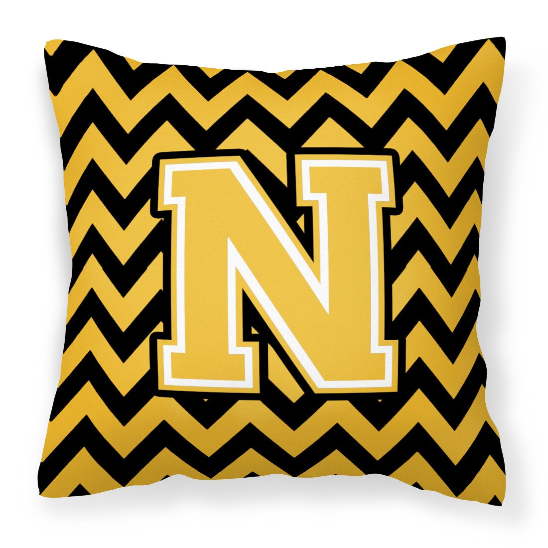 Letter N Chevron Black and Gold Fabric Decorative Pillow CJ1053-NPW1414 by Caroline's Treasures