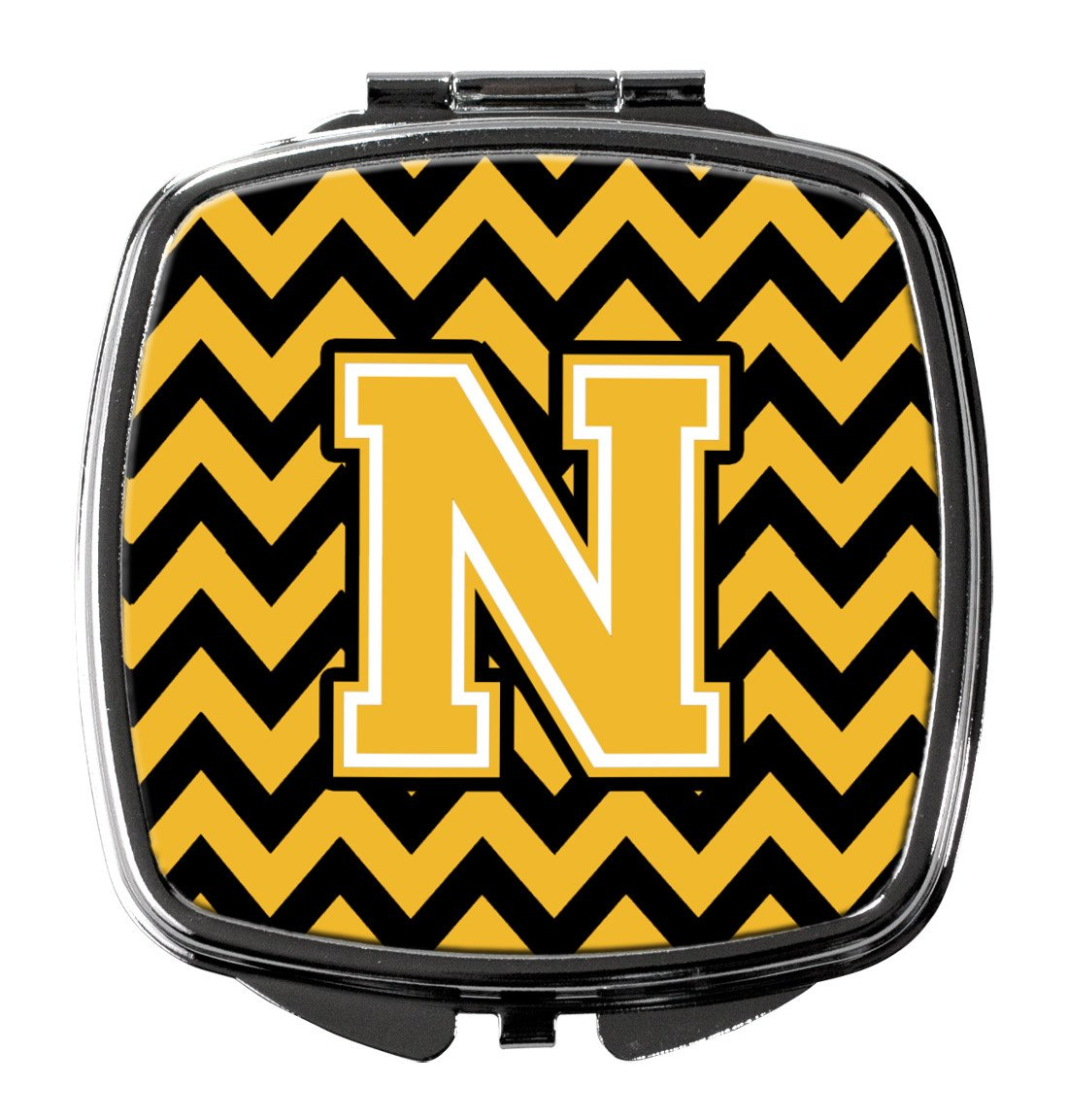 Letter N Chevron Black and Gold Compact Mirror CJ1053-NSCM by Caroline's Treasures