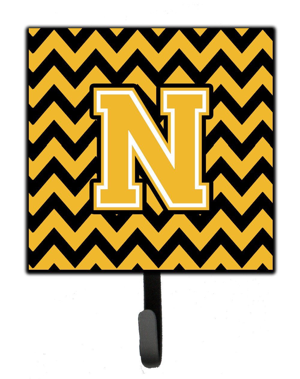 Letter N Chevron Black and Gold Leash or Key Holder CJ1053-NSH4 by Caroline's Treasures