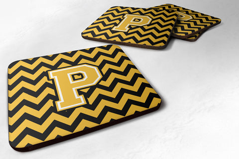 Buy this Letter P Chevron Black and Gold Foam Coaster Set of 4 CJ1053-PFC