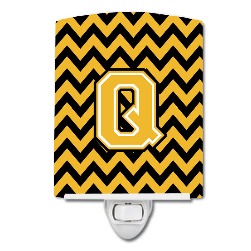 Buy this Letter Q Chevron Black and Gold Ceramic Night Light CJ1053-QCNL