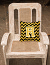 Letter R Chevron Black and Gold Fabric Decorative Pillow CJ1053-RPW1414 by Caroline's Treasures