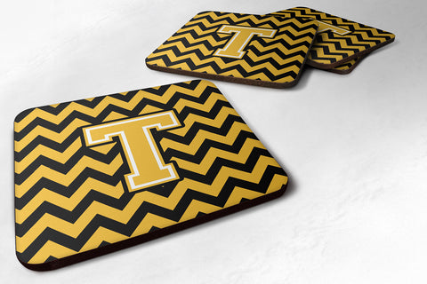 Buy this Letter T Chevron Black and Gold Foam Coaster Set of 4 CJ1053-TFC