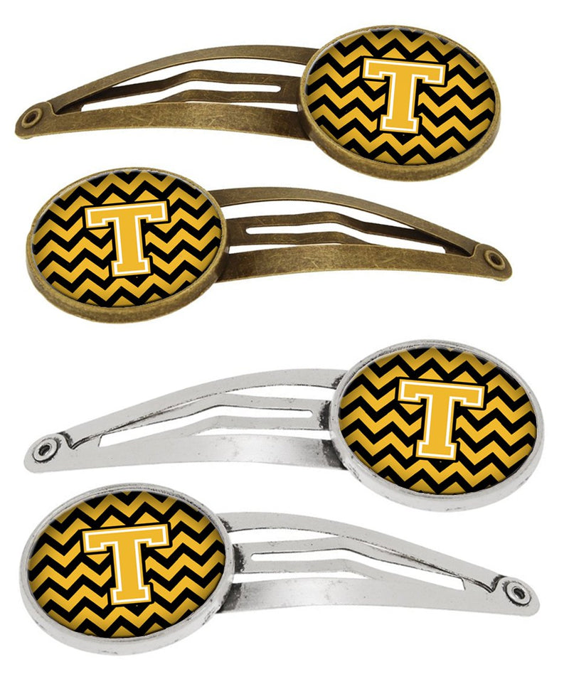 Buy this Letter T Chevron Black and Gold Set of 4 Barrettes Hair Clips CJ1053-THCS4