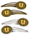 Buy this Letter U Chevron Black and Gold Set of 4 Barrettes Hair Clips CJ1053-UHCS4