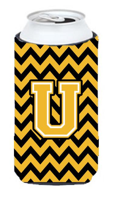 Buy this Letter U Chevron Black and Gold Tall Boy Beverage Insulator Hugger CJ1053-UTBC