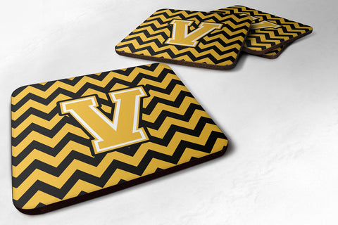 Buy this Letter V Chevron Black and Gold Foam Coaster Set of 4 CJ1053-VFC
