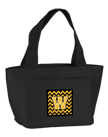 Buy this Letter W Chevron Black and Gold Lunch Bag CJ1053-WBK-8808