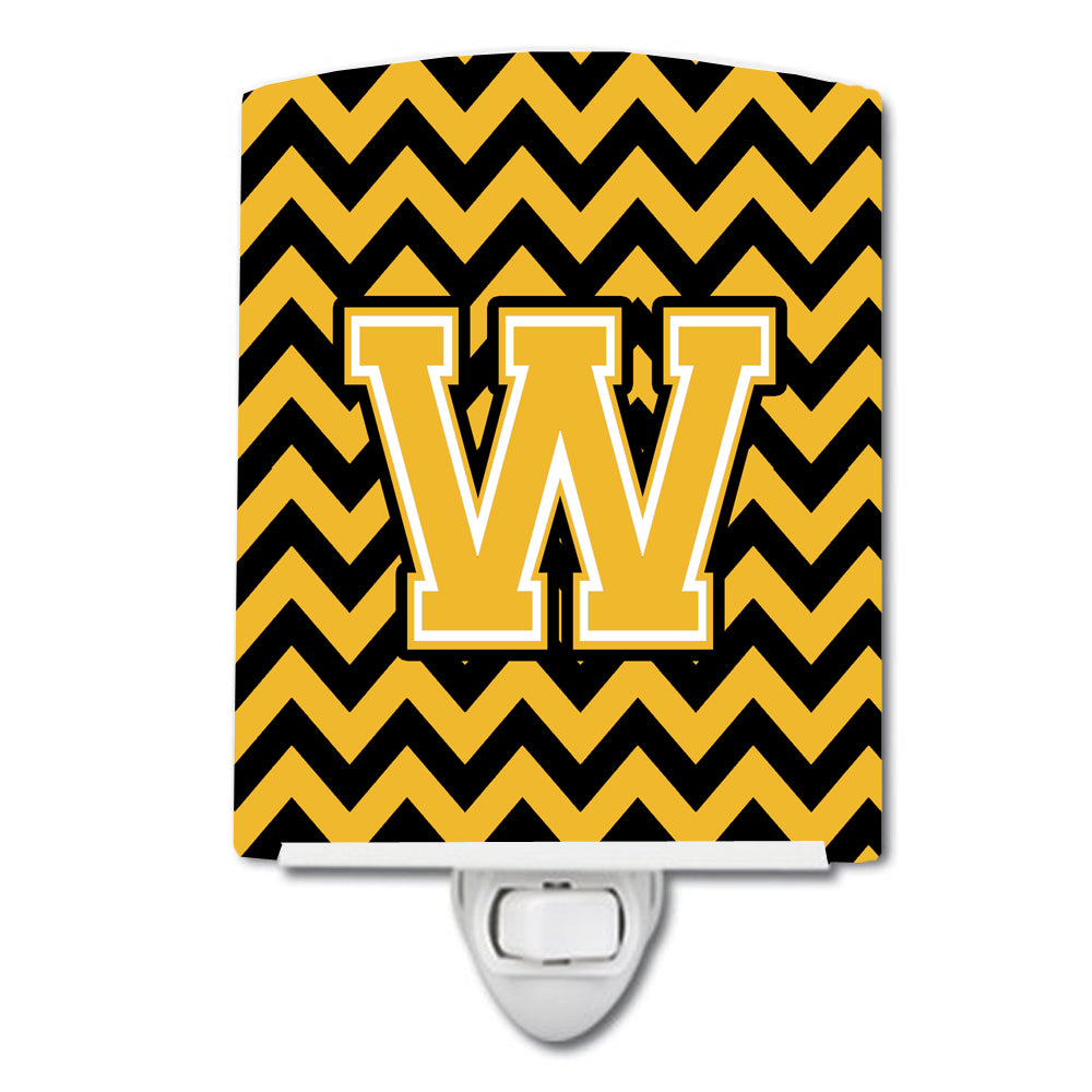 Letter W Chevron Black and Gold Ceramic Night Light CJ1053-WCNL by Caroline's Treasures