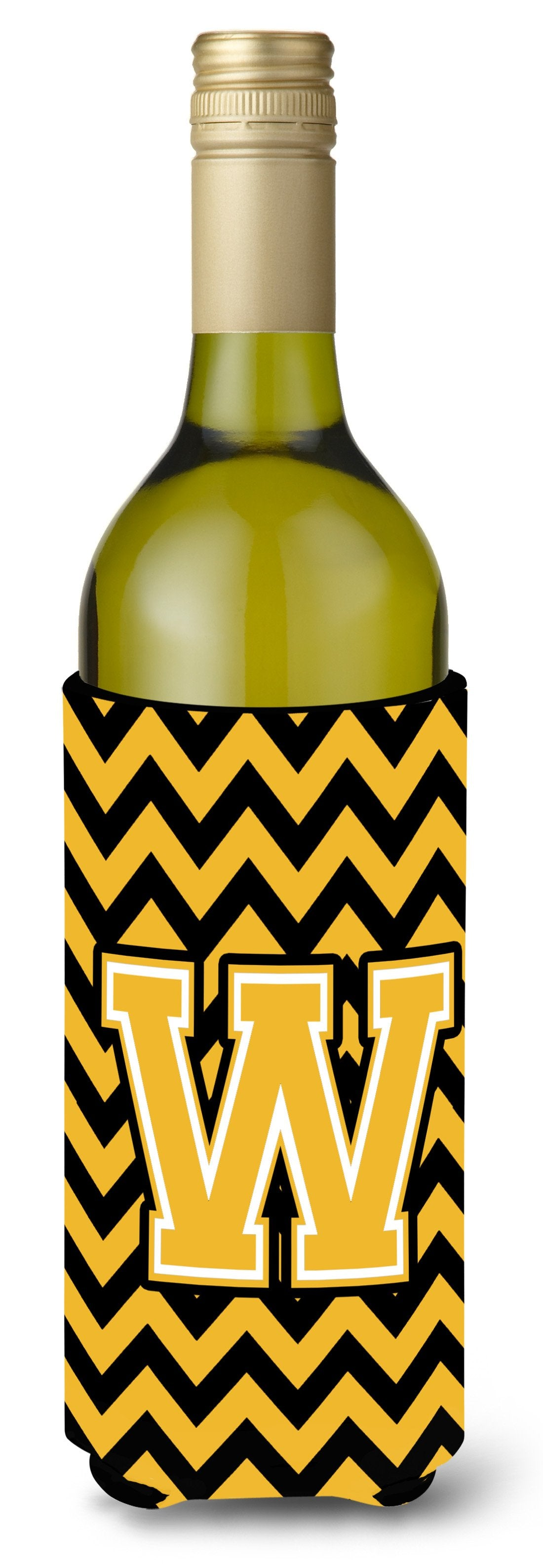 Buy this Letter W Chevron Black and Gold Wine Bottle Beverage Insulator Hugger