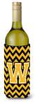 Letter W Chevron Black and Gold Wine Bottle Beverage Insulator Hugger by Caroline's Treasures