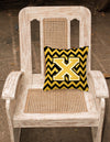 Letter X Chevron Black and Gold Fabric Decorative Pillow CJ1053-XPW1414 by Caroline's Treasures