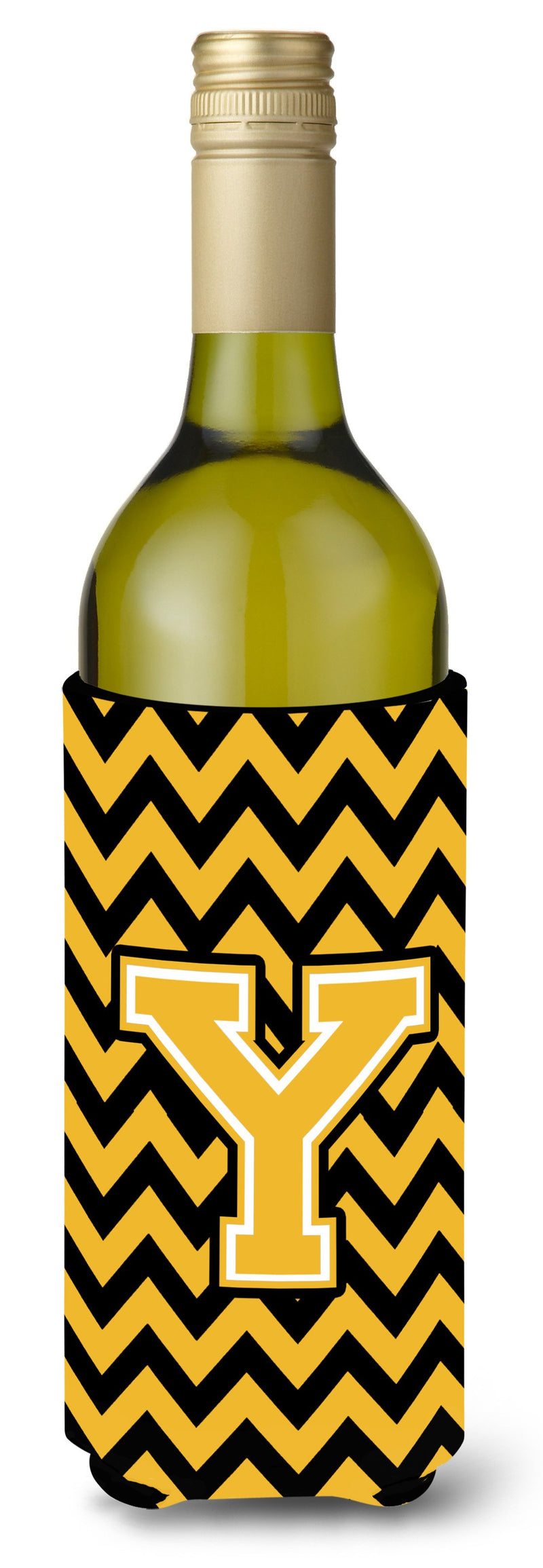 Buy this Letter Y Chevron Black and Gold Wine Bottle Beverage Insulator Hugger