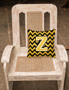 Letter Z Chevron Black and Gold Fabric Decorative Pillow CJ1053-ZPW1414 by Caroline's Treasures
