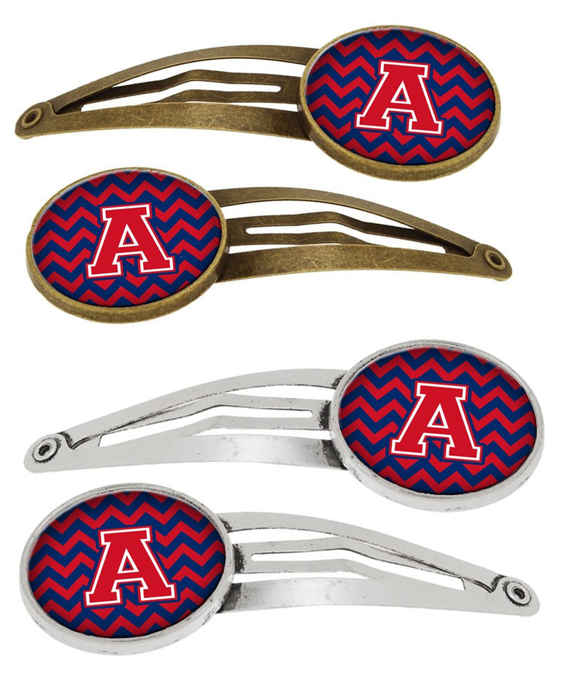 Buy this Letter A Chevron Yale Blue and Crimson Set of 4 Barrettes Hair Clips CJ1054-AHCS4
