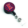 Letter E Chevron Yale Blue and Crimson Retractable Badge Reel CJ1054-EBR by Caroline's Treasures