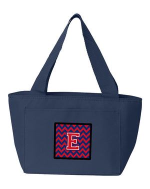 Buy this Letter E Chevron Yale Blue and Crimson Lunch Bag CJ1054-ENA-8808