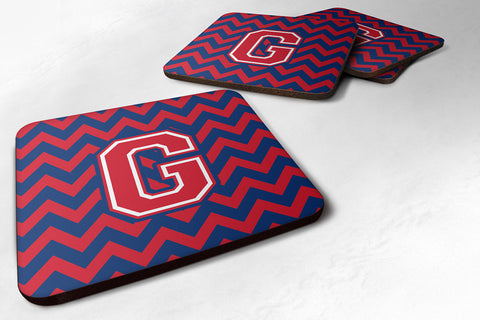 Buy this Letter G Chevron Yale Blue and Crimson Foam Coaster Set of 4 CJ1054-GFC