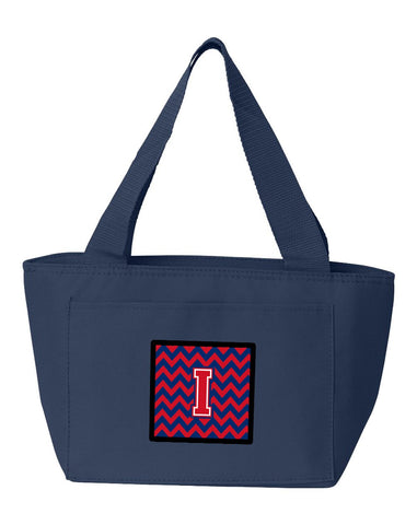 Buy this Letter I Chevron Yale Blue and Crimson Lunch Bag CJ1054-INA-8808