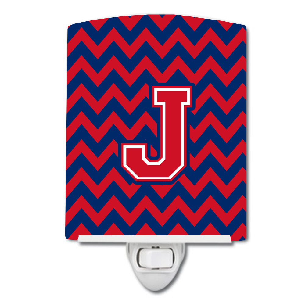 Letter J Chevron Yale Blue and Crimson Ceramic Night Light CJ1054-JCNL by Caroline's Treasures