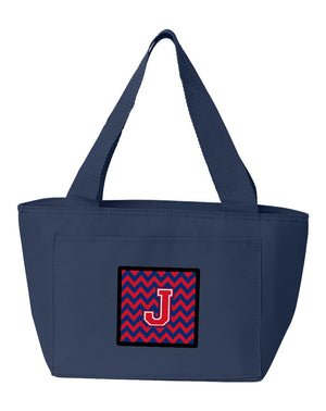 Buy this Letter J Chevron Yale Blue and Crimson Lunch Bag CJ1054-JNA-8808