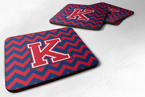 Buy this Letter K Chevron Yale Blue and Crimson Foam Coaster Set of 4 CJ1054-KFC
