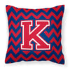 Letter K Chevron Yale Blue and Crimson Fabric Decorative Pillow CJ1054-KPW1414 by Caroline's Treasures