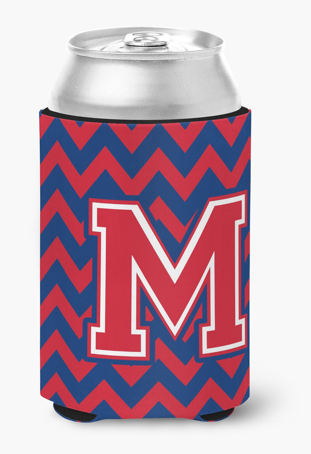 Letter M Chevron Yale Blue and Crimson Can or Bottle Hugger CJ1054-MCC by Caroline's Treasures
