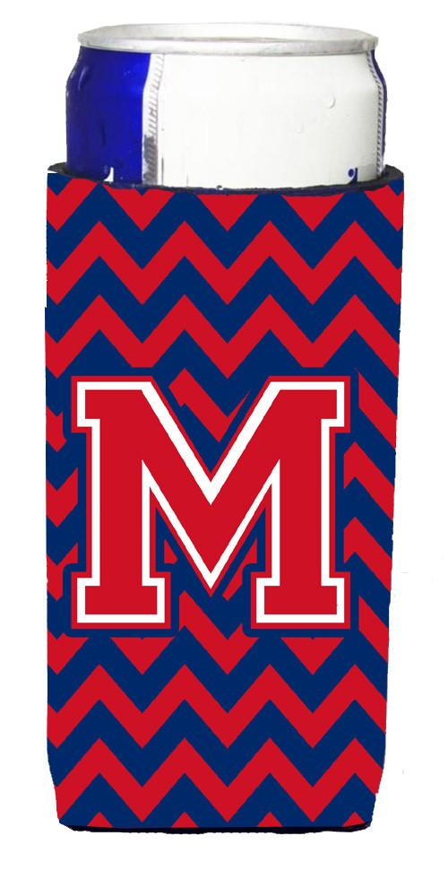 Letter M Chevron Yale Blue and Crimson Ultra Beverage Insulators for slim cans CJ1054-MMUK by Caroline's Treasures