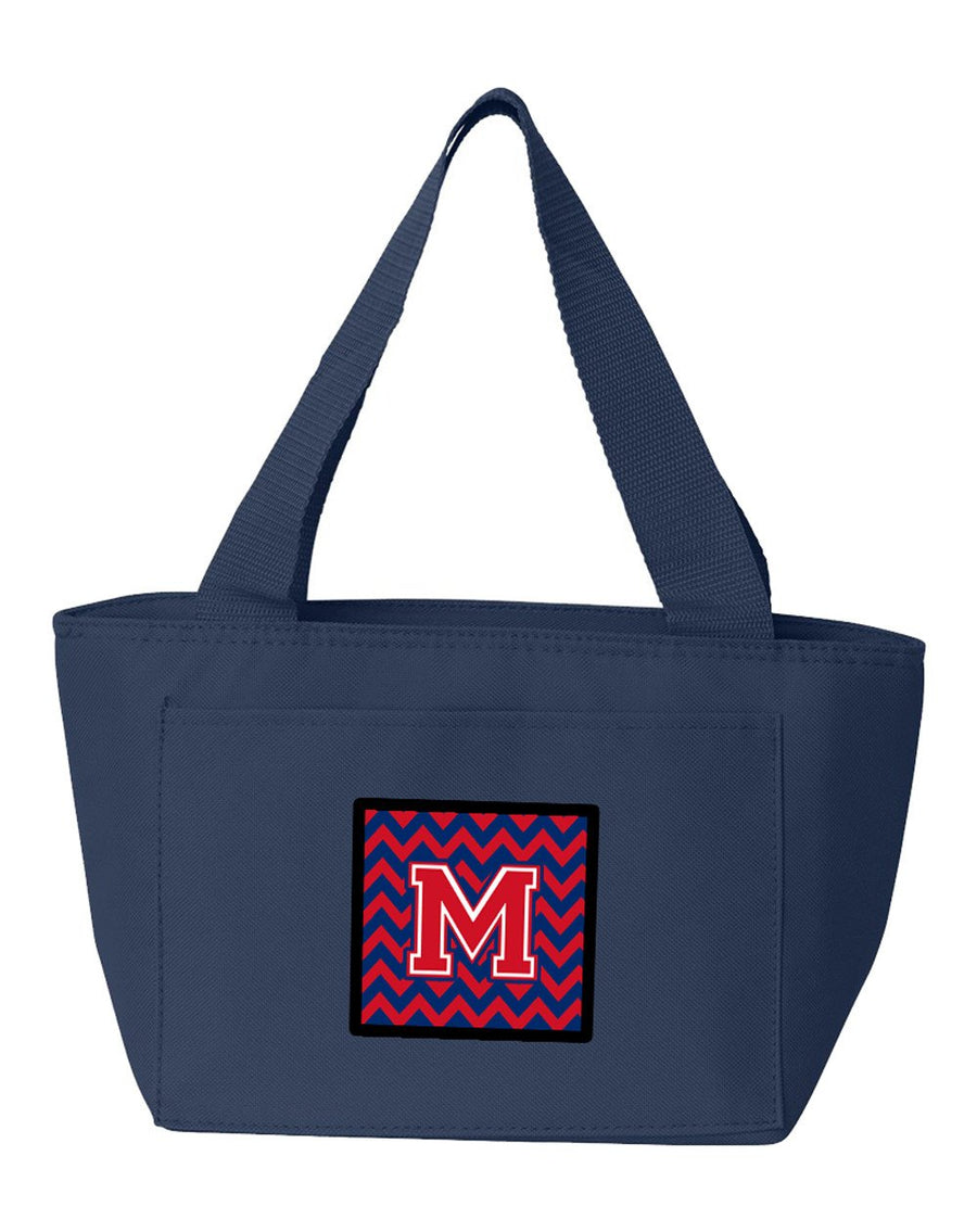 Buy this Letter M Chevron Yale Blue and Crimson Lunch Bag CJ1054-MNA-8808