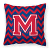 Letter M Chevron Yale Blue and Crimson Fabric Decorative Pillow CJ1054-MPW1414 by Caroline's Treasures