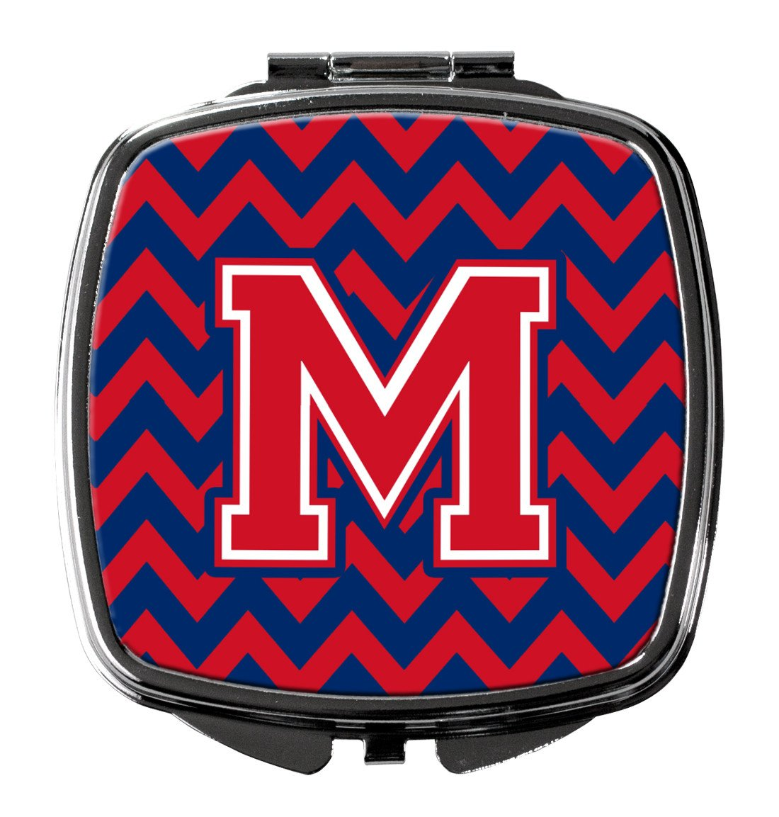 Letter M Chevron Yale Blue and Crimson Compact Mirror CJ1054-MSCM by Caroline's Treasures