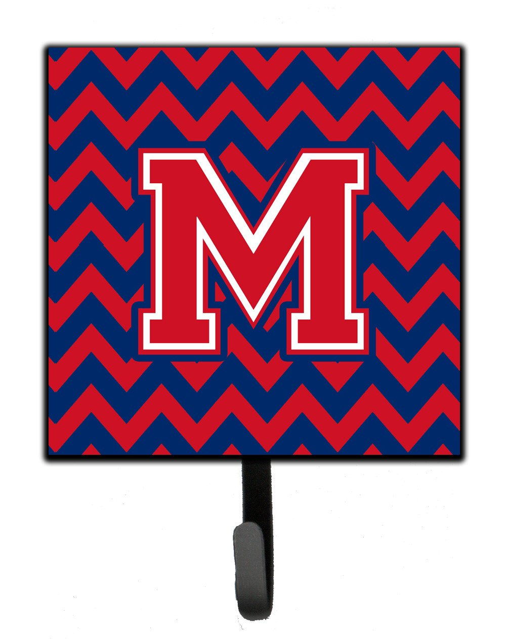 Letter M Chevron Yale Blue and Crimson Leash or Key Holder CJ1054-MSH4 by Caroline's Treasures