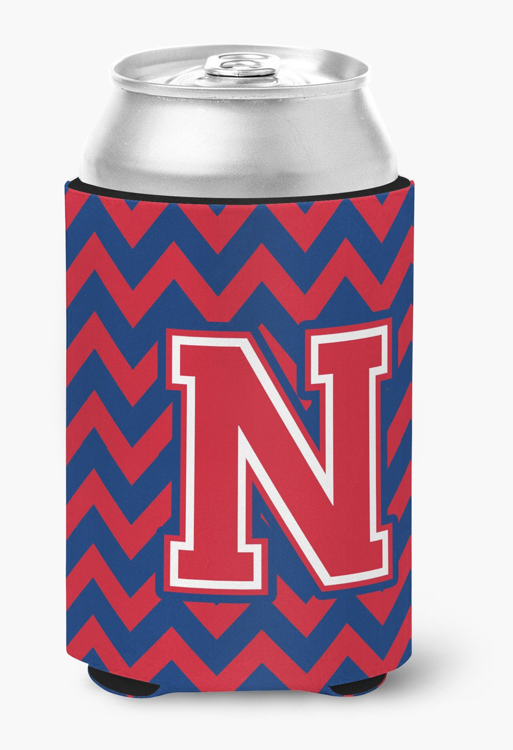 Letter N Chevron Yale Blue and Crimson Can or Bottle Hugger CJ1054-NCC by Caroline's Treasures