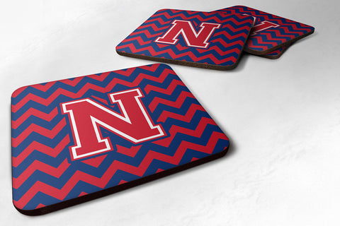 Buy this Letter N Chevron Yale Blue and Crimson Foam Coaster Set of 4 CJ1054-NFC