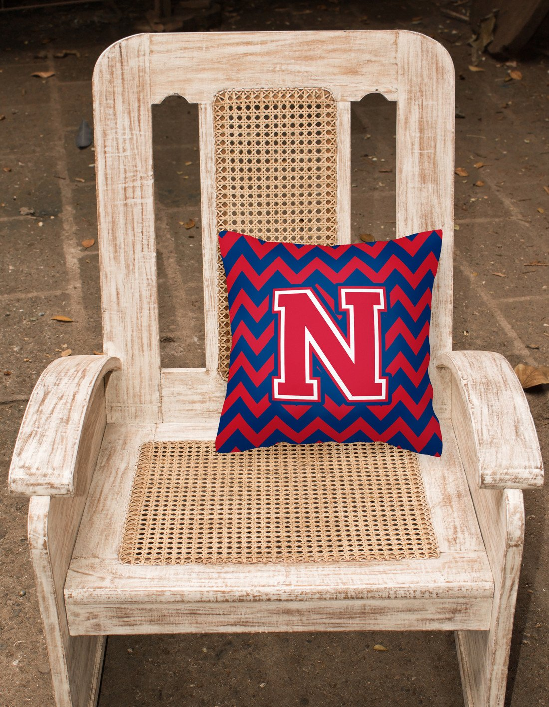 Letter N Chevron Yale Blue and Crimson Fabric Decorative Pillow CJ1054-NPW1414 by Caroline's Treasures