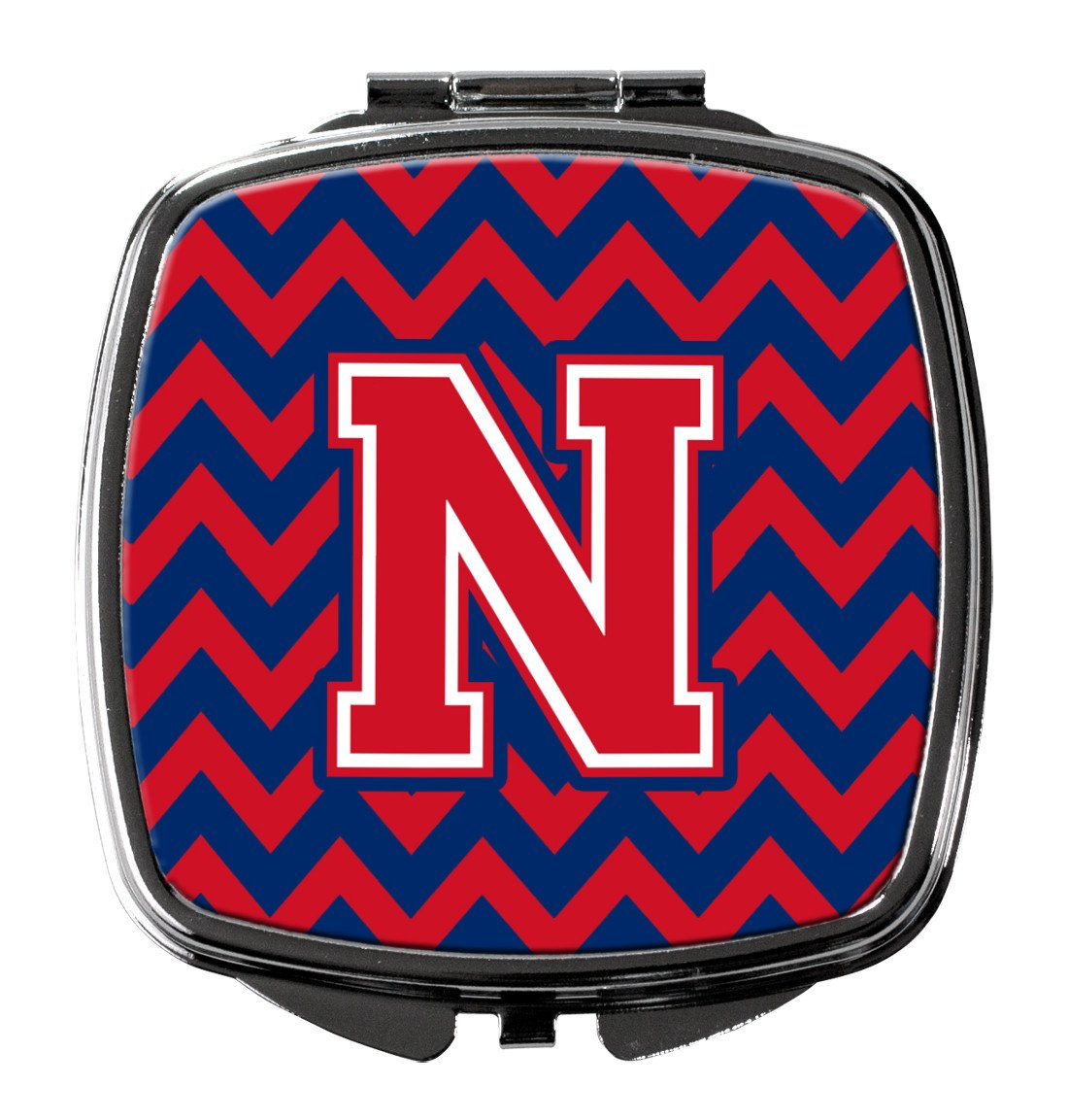 Letter N Chevron Yale Blue and Crimson Compact Mirror CJ1054-NSCM by Caroline's Treasures